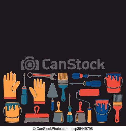 Reparatur, Heiligenbilder, Hand, Vektor, Gezeichnet, Werkzeuge, Renovierung    Csp38449798