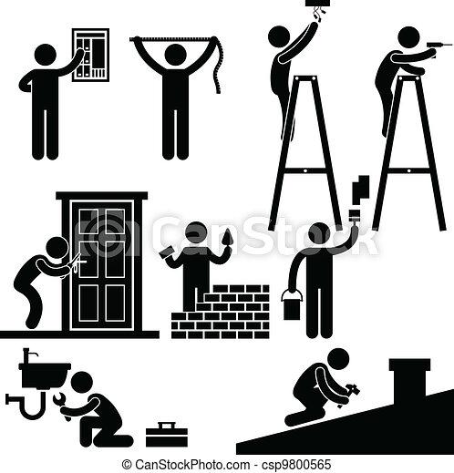 Handwerker repariert Reparatur-Symbol - csp9800565