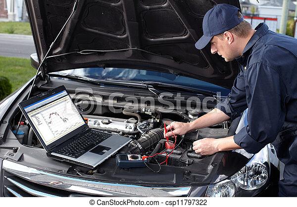 reparatur, service., arbeitende , auto mechaniker, auto - csp11797322