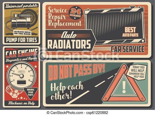 Auto-Service und Auto-Reparatur Retro signboard - csp61220882
