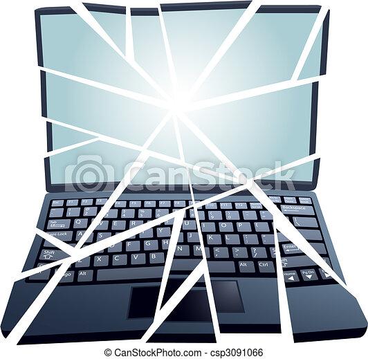 Reparieren Sie Den Kaputten Laptop In Stucken Ein Schwer Beschadigter Laptop In Stucken Und Muss Repariert Werden Canstock