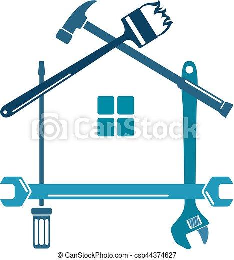 reparera, verktyg, hem - csp44374627