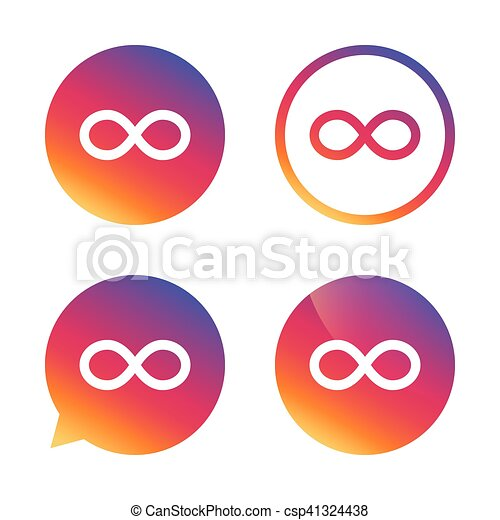 Repeat Icon Loop Symbol Infinity Sign Gradient Buttons With Flat
