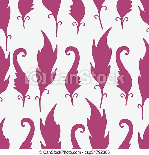 Repeating Floral And Feather Pattern Seamless Texture With Leaves Silhouettes White Background Pink Elements Light Backdropvector Illustration For