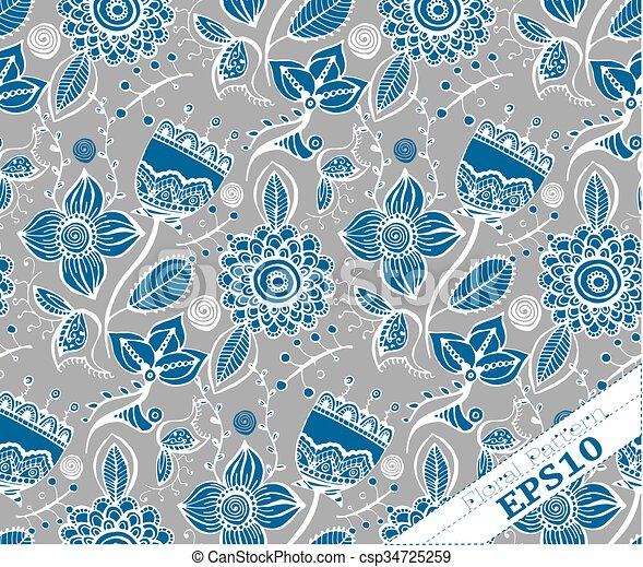 Repeating Floral Background Pattern. Grey And Blue   Csp34725259