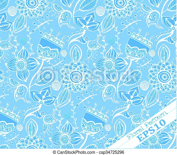 Repeating Floral Background Pattern.Blue And White   Csp34725296