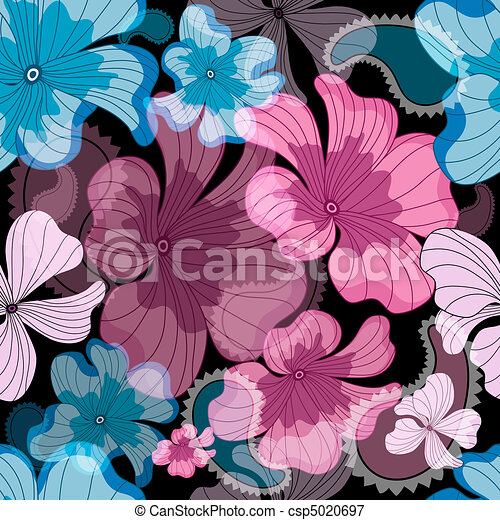 Repeating floral black pattern - csp5020697