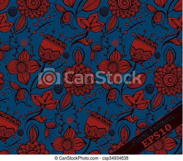 Repeating Floral Pattern. Blue And Red   Csp34934838