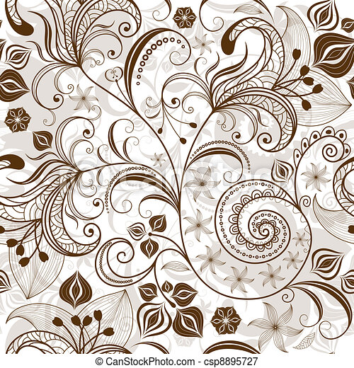 Repeating white-brown floral pattern - csp8895727