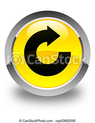 Reply arrow icon glossy yellow round button - csp50682595