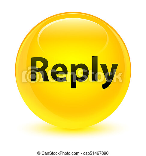 Reply glassy yellow round button - csp51467890