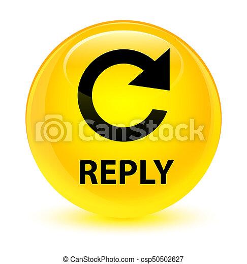 Reply (rotate arrow icon) glassy yellow round button - csp50502627