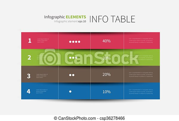 report infographic table options 4