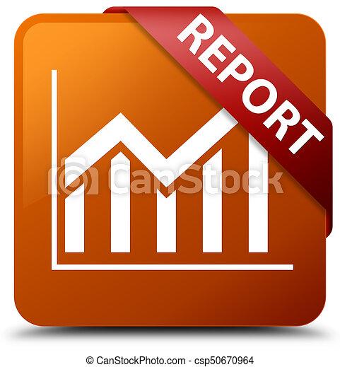 Report (statistics icon) brown square button red ribbon in corner - csp50670964