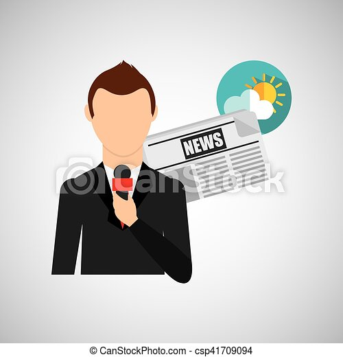 Reporter man weather forecast news meteorologist design ...