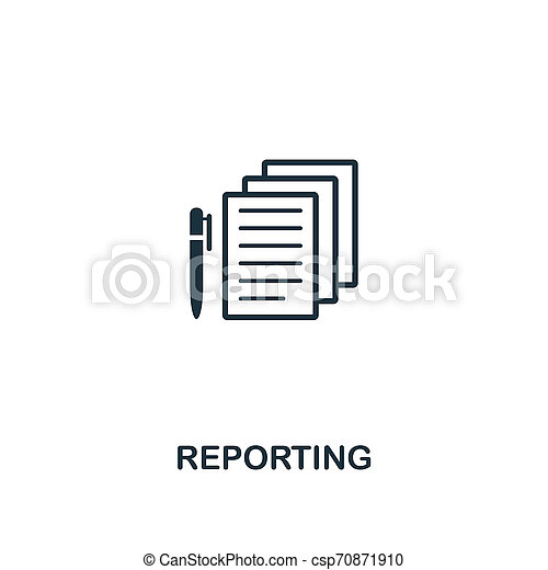 Reporting icon. Premium style design from business management icon collection. Pixel perfect Reporting icon for web design, apps, software, print usage - csp70871910