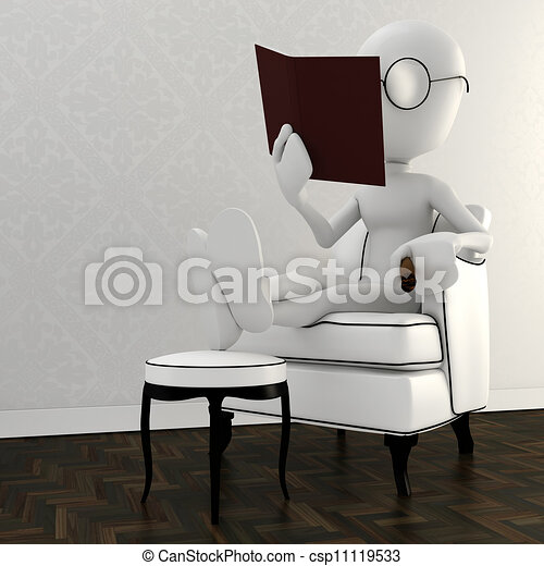 Reposer 3d Livre Chaise Lecture Homme