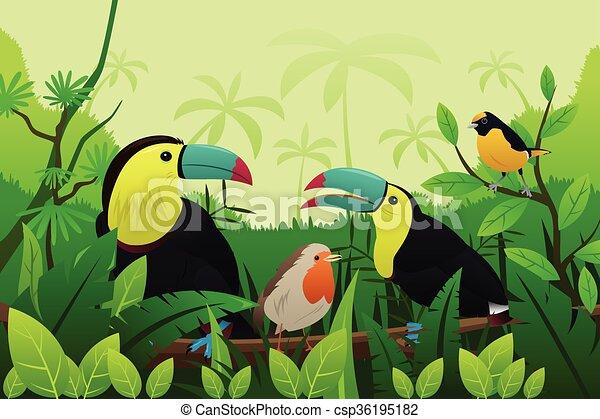 reposer, branches, oiseaux, arbre - csp36195182