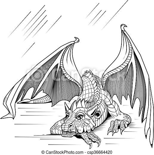 reposer, dragon - csp36664420