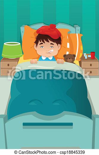 reposer, malade, gosse - csp18845339
