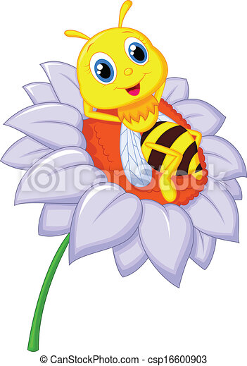 reposer, peu, b, dessin animé, abeille - csp16600903
