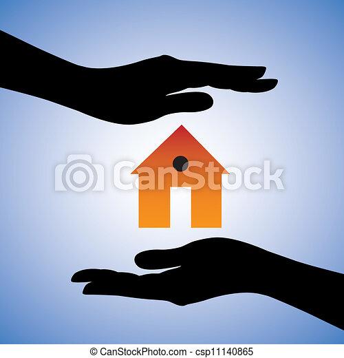 représenter, concept, maison, système, femme, assurance maison, contient, deux, sécurité, house/home., symbole., illustration, protection, mains, graphique, ceci, installation, boîte, sécurité, etc., ou - csp11140865