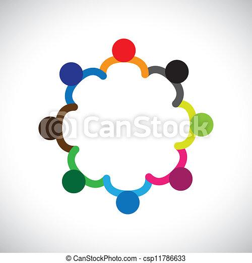 représenter, graphique, diversity., diversité, gosses, &, ceci, former, jouer, gens, enfants, aussi, concept, collaboration, boîte, tenant mains, contient, équipe, constitué, circle. - csp11786633