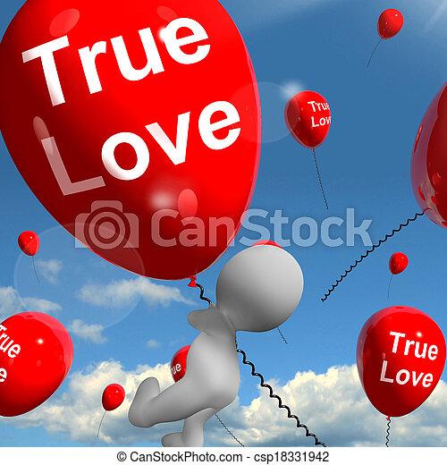 representa, amantes, amor, balões, pares, verdadeiro - csp18331942