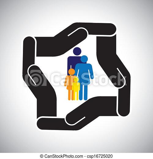 representa, gráfico, crianças, família, acidente, proteção, etc, também, conceito, segurança, pai, vector., mãe, seguro saúde, ou - csp16725020