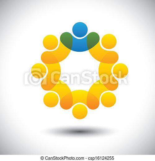 representar, concepto, supervisor, resumen, comunidad, director, y, -, también, vector., círculo, líder, miembros, líder, icono, gráfico, personal, esto, empleados, iconos, liderazgo, etc, lata, equipo - csp16124255