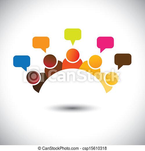 Ejecutivos de oficina, reuniones, discusiones, opiniones... vector gráfico. Esta ilustración puede representar reuniones de miembros del personal, discusiones de grupo, asalto cerebral, opiniones aéreas, trabajo en equipo, etc - csp15610318