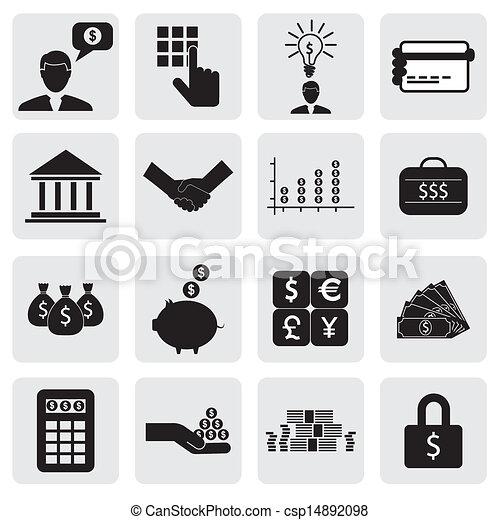 Los iconos financieros del banco relacionados con dinero, riqueza, vector gráfico. Esta ilustración también puede representar cuentas de ahorro, inversiones, creación de la riqueza, negocios bancarios, ahorrar dinero, tarjetas de crédito - csp14892098