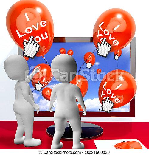 represente, amantes, amor, saudações, internet, tu, balões - csp21600830