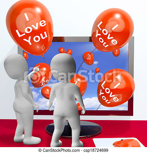 represente, amantes, amor, saudações, online, tu, balões - csp18724699