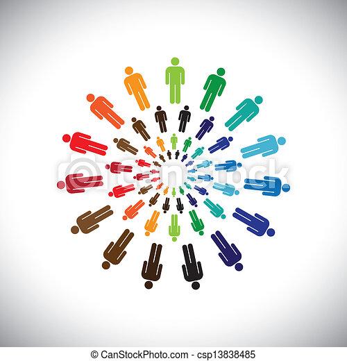 represente, conceito, pessoas, global, colaborar, interação, &, também, outro, multi-étnico, coloridos, social, comunidades, circles., gráfico, este, equipes, vetorial, lata, cada, encontre, ou - csp13838485