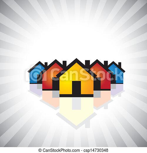 represente, indústria, propriedade, graphic., icon(symbol)-, &, também, propriedade, real, vender, ilustração negócio, construção, realty, houses(homes), coloridos, comprando, este, etc, vetorial, lata, ou - csp14730348