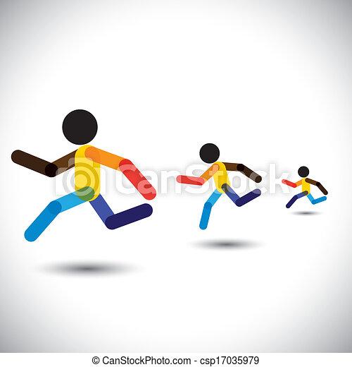 represente, pessoa, abstratos, sprint, treinamento, cardio, ícones, ganhar, também, saúde, correndo, coloridos, desafio, executando, treinamentos, gráfico, maratona, este, competition., etc, vetorial, lata, atletas - csp17035979
