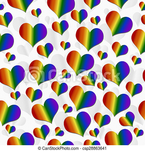 reprise, coloré, modèle, sur, lgbt, fond, carreau, cœurs, blanc, fierté - csp28863641