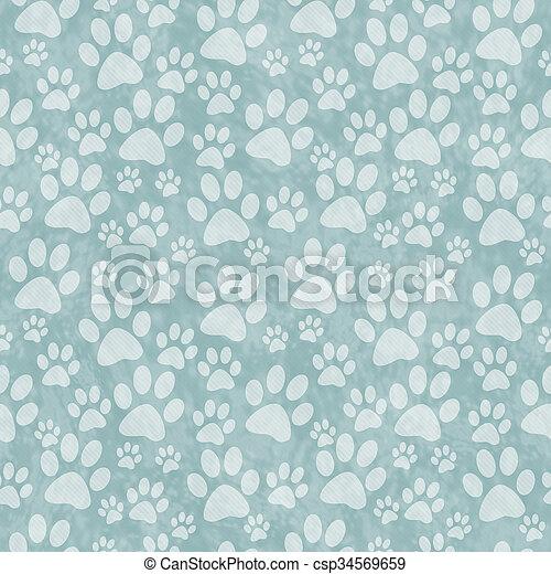 reprise, patte, modèle, impression, arrière-plan vert, carreau, doggy - csp34569659