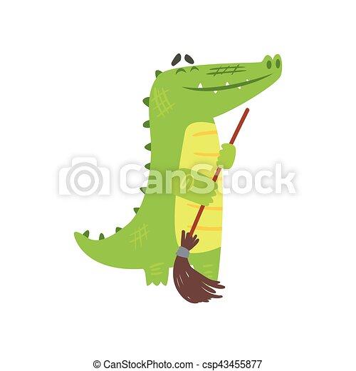 Reptil, boden, besen, zeichen, krokodil, grün, tier,... Vektoren ...