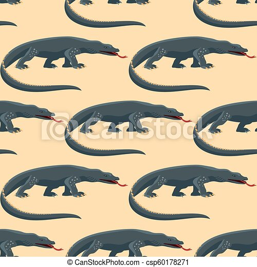 Reptile amphibian varan seamless pattern colorful fauna vector illustration reptiloid predator reptiles animals. - csp60178271