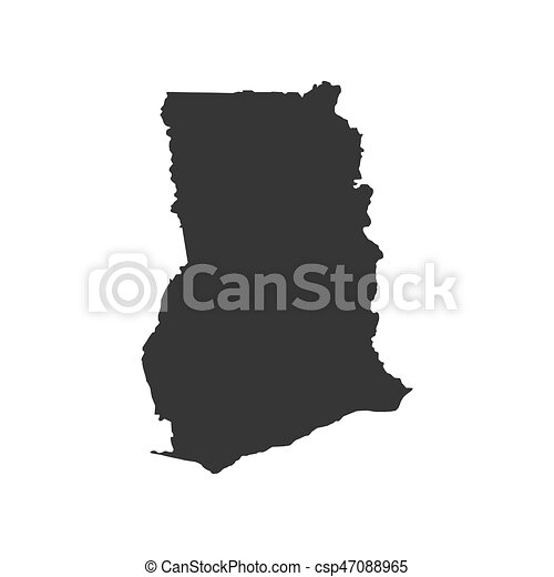 Republic Of Ghana Map On The White Background Vector Clip Art - Ghana map vector