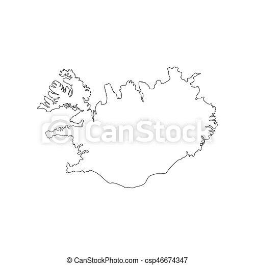 Republic of iceland map on the white background. vector llustration.