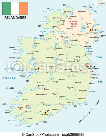 Map Of Ireland Vector.Republic Of Ireland Vector Map With Flag