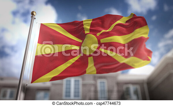 Republic of Macedonia Flag 3D Rendering on Blue Sky Building Background - csp47744673