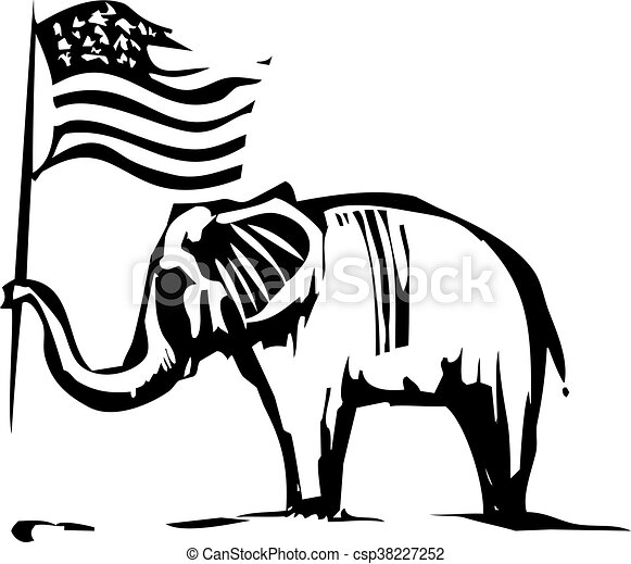 Republican Elephant Woodcut Style Image Of An Elephant Waving An