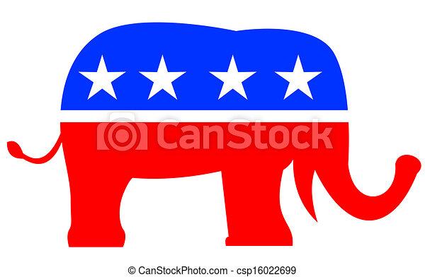 Republican Elephant Mascot USA Flag - csp16022699