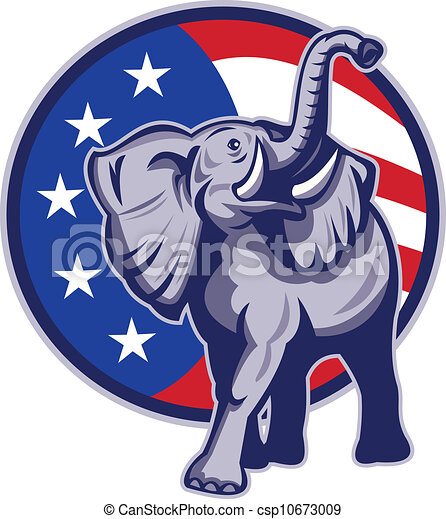 Republican Elephant Mascot USA Flag - csp10673009