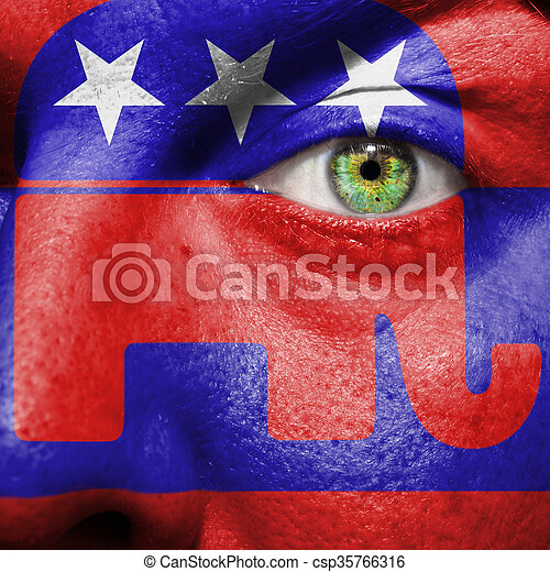 Republican Party Elephant Symbol Painted On A Mans Face To Show