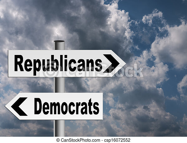 Política americana, republicanos demócratas - csp16072552
